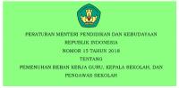 PERATURAN MENTERI PENDIDIKAN DAN KEBUDAYAAN  REPUBLIK INDONESIA NOMOR 15 TAHUN 2018 TENTANG PEMENUHAN BEBAN KERJA GURU, KEPALA SEKOLAH, DAN  PENGAWAS SEKOLAH