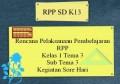 Rencana Pelaksanaan Pembelajaran RPP K13 Kelas 1 Tema 3 Sub Tema 3 Kegiatan Sore Hari